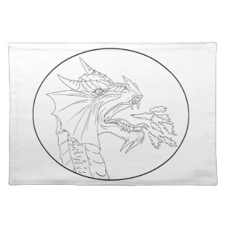 Dragon Fire Circle Drawing Placemat