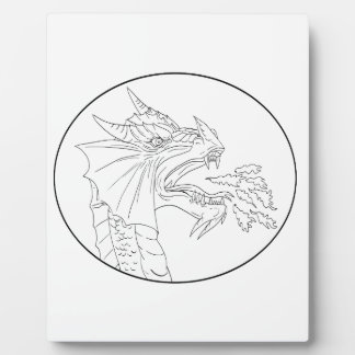 Dragon Fire Circle Drawing Plaque