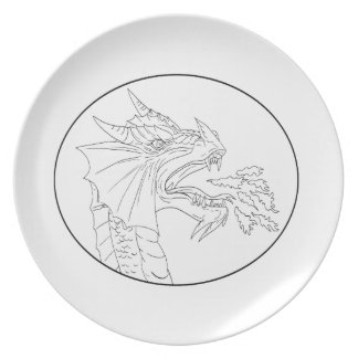 Dragon Fire Circle Drawing Plate