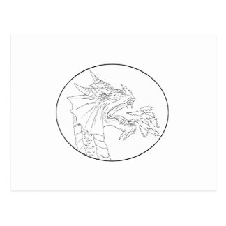 Dragon Fire Circle Drawing Postcard