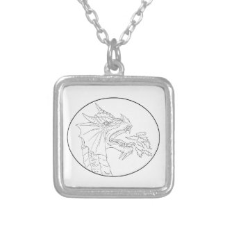 Dragon Fire Circle Drawing Silver Plated Necklace