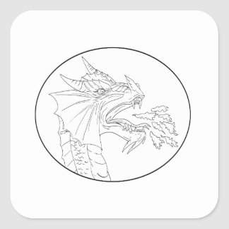 Dragon Fire Circle Drawing Square Sticker