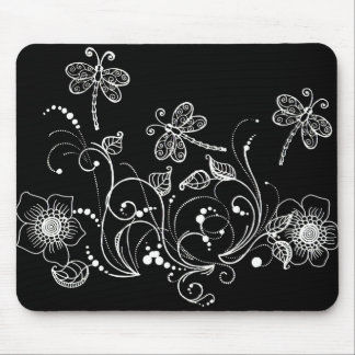 Dragon Flower in Black and White Mouse Pad