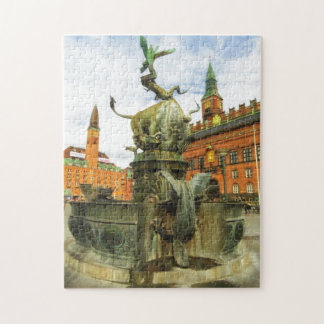 Dragon Fountain in Copenhagen Jigsaw Puzzle