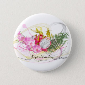 Dragon Fruit and Pink Orchid Tropical Calligraphy 2 Inch Round Button
