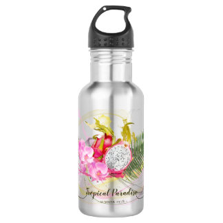 Dragon Fruit and Pink Orchid Tropical Calligraphy 532 Ml Water Bottle