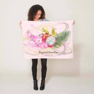 Dragon Fruit and Pink Orchid Tropical Calligraphy Fleece Blanket