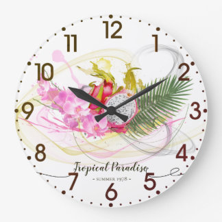 Dragon Fruit and Pink Orchid Tropical Calligraphy Large Clock