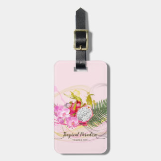 Dragon Fruit and Pink Orchid Tropical Calligraphy Luggage Tag