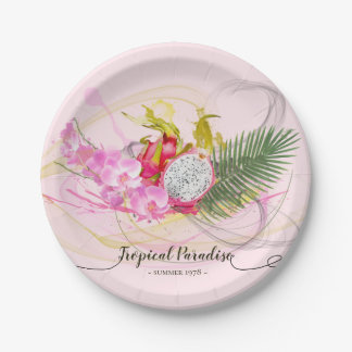 Dragon Fruit and Pink Orchid Tropical Calligraphy Paper Plate