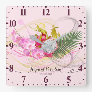 Dragon Fruit and Pink Orchid Tropical Calligraphy Square Wall Clock