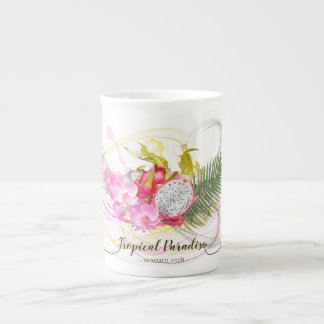 Dragon Fruit and Pink Orchid Tropical Calligraphy Tea Cup