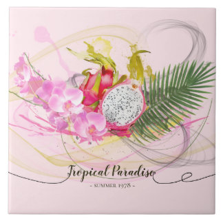 Dragon Fruit and Pink Orchid Tropical Calligraphy Tile