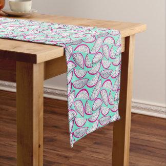 Dragon fruit pattern on cyan background short table runner