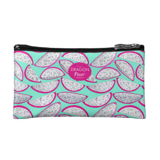 Dragon fruit pattern on teal background cosmetic bag