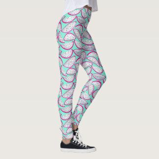 Dragon fruit pattern on teal background leggings