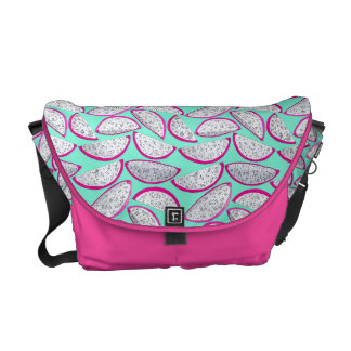 Dragon fruit pattern on teal background messenger bag