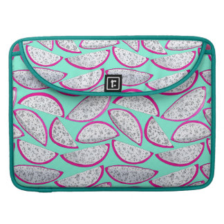 Dragon fruit pattern on teal background sleeve for MacBook pro