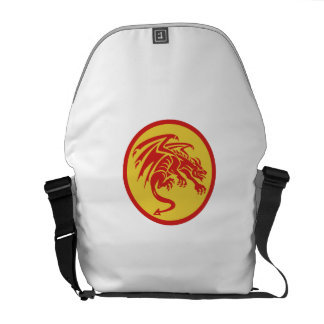 Dragon Gargoyle Crouching Circle Retro Courier Bags