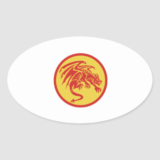 Dragon Gargoyle Crouching Circle Retro Oval Sticker