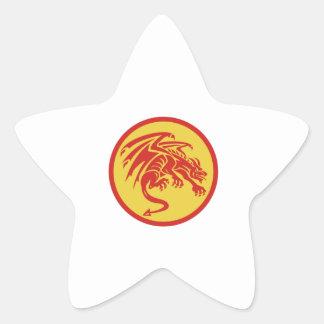 Dragon Gargoyle Crouching Circle Retro Star Sticker