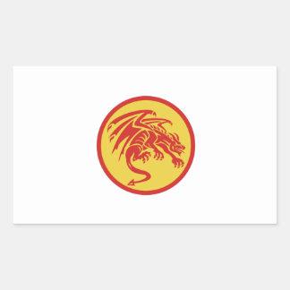 Dragon Gargoyle Crouching Circle Retro Sticker