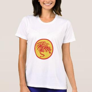 Dragon Gargoyle Crouching Circle Retro T-Shirt