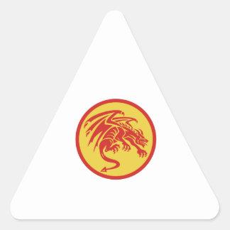 Dragon Gargoyle Crouching Circle Retro Triangle Sticker