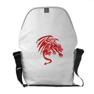 Dragon Gargoyle Crouching Silhouette Retro Courier Bag