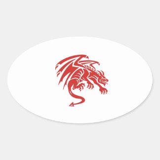 Dragon Gargoyle Crouching Silhouette Retro Oval Sticker