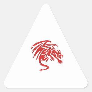 Dragon Gargoyle Crouching Silhouette Retro Triangle Sticker