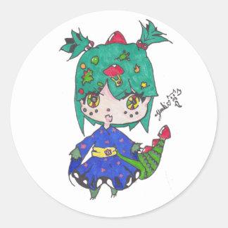 dragon girl edited classic round sticker