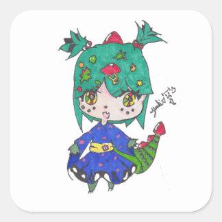dragon girl edited square sticker