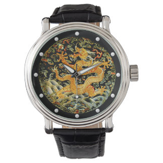 Dragon golden Chinese Qing dynasty embroidery Wrist Watches