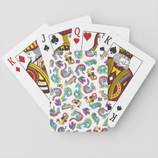 Dragon Gymnastics - A Playful Pattern - Blue Poker Deck