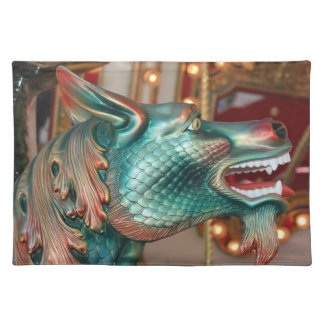 dragon head carousel ride fair image placemats
