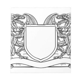 Dragon Heraldry Crest Coat of Arms Shield Emblem Notepad