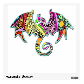 Dragon Hovering Wings Out Colorful Wall Decal