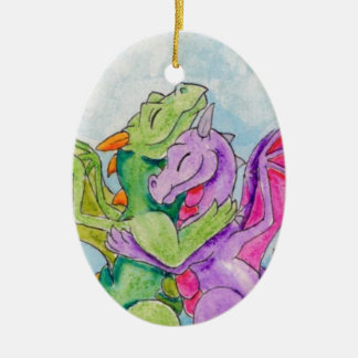 Dragon Hug Ceramic Ornament