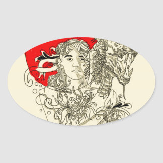 dragon lady oval sticker