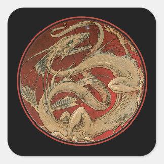 Dragon Lore Art Nouveau Square Sticker