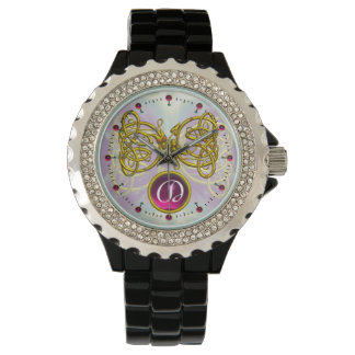 DRAGON LOVE/ GOLD CELTIC KNOTS GEMSTONE MONOGRAM WATCHES