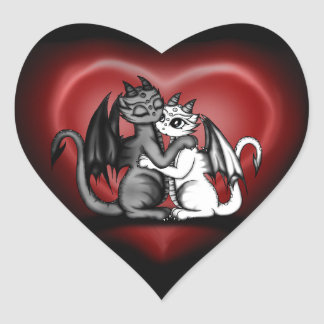 Dragon Lovepair Heart Sticker
