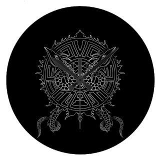 Dragon Mandala Tattoo Design Large Clock