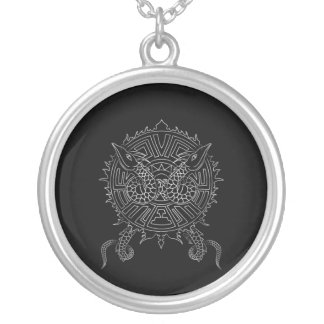 Dragon Mandala Tattoo Design Silver Plated Necklace