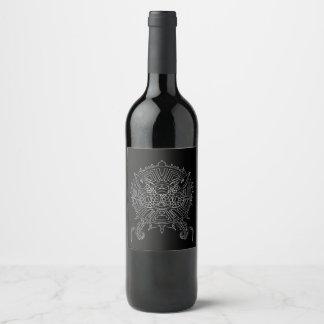 Dragon Mandala Tattoo Design Wine Label