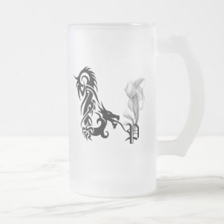 Dragon Monogram P Frosted Glass Beer Mug