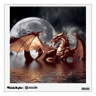 Dragon & Moon Fantasy Art Window or Wall Decal