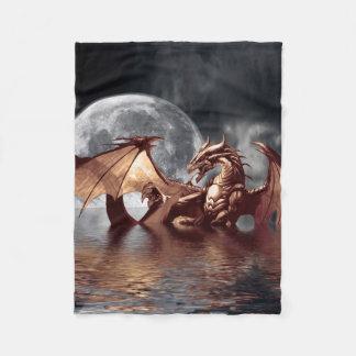 Dragon & Moon Fantasy Artwork Fleece Blanket