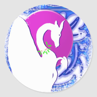 Dragon Moon I Holiday (Blue Ornament) Round Sticker